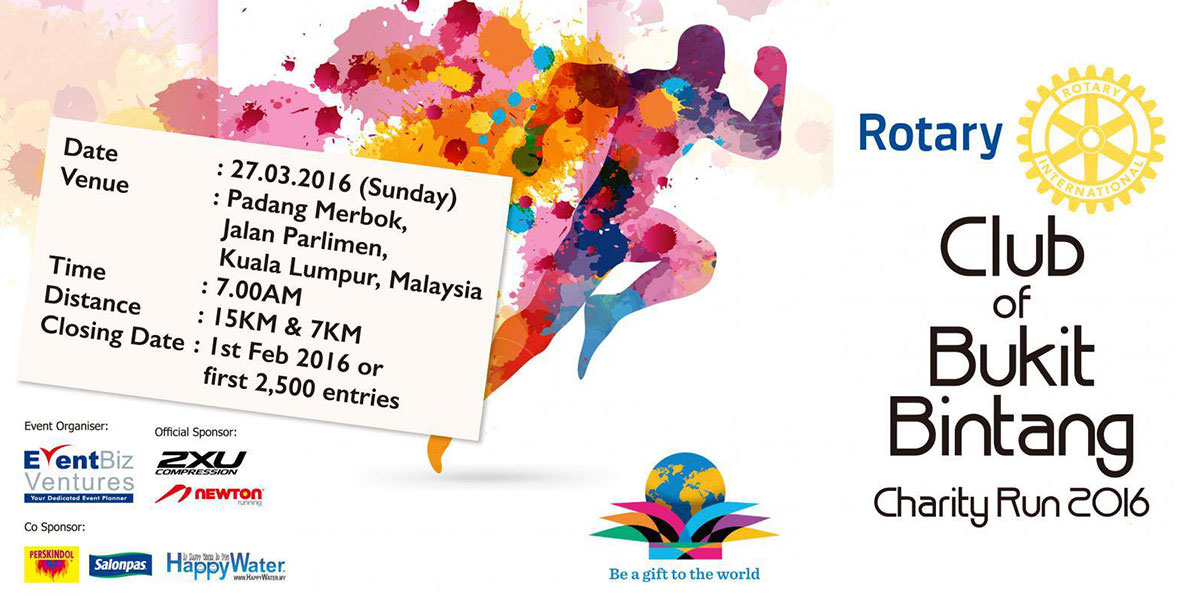 HappyWater is proud to be one of the supporting partners for Rotary Club of Bukit Bintang Charity Run 2016