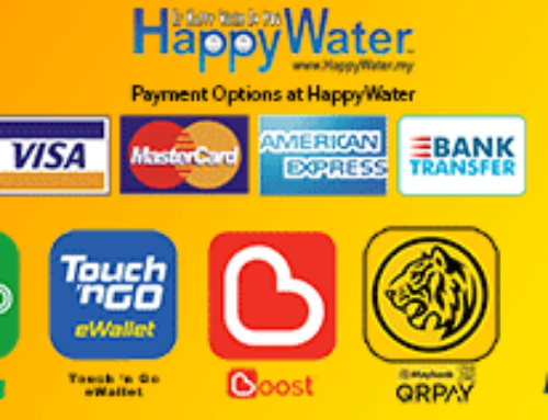 HappyWater accepts Credit cards and eWallets
