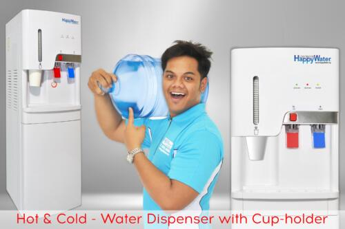 water dispenser with cups and storage